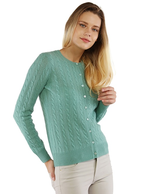 Silk and Cashmere Hırka Yeşil